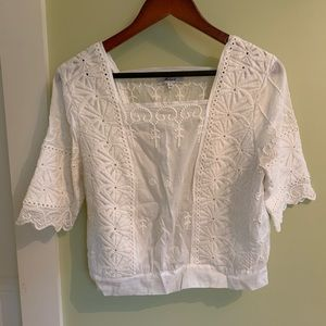 Madewell cotton embroidered top. Size 4